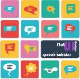Iconos planos del diseño del ui Burbujas del discurso Foto de archivo libre de regalías
