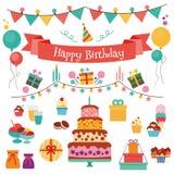 Iconos planos del diseño del vector del feliz cumpleaños fijados libre illustration