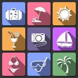 Iconos planos del diseño del viaje fijados Fotografía de archivo