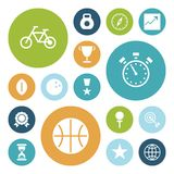 Iconos planos del diseño para el deporte y la aptitud Imagenes de archivo