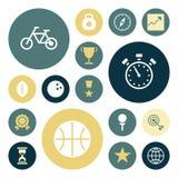 Iconos planos del diseño para el deporte y la aptitud Fotografía de archivo libre de regalías