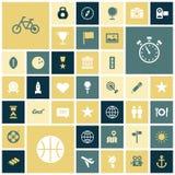 Iconos planos del diseño para el viaje, el deporte y el ocio Imagenes de archivo