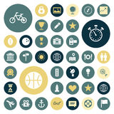 Iconos planos del diseño para el viaje, el deporte y el ocio Fotos de archivo