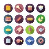 Iconos planos del diseño para la comida Fotografía de archivo libre de regalías