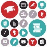 Iconos planos del diseño para la educación Fotografía de archivo
