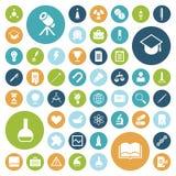 Iconos planos del diseño para la educación, la ciencia y médico Fotos de archivo libres de regalías