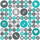 Iconos planos del diseño para la educación y la ciencia Fotos de archivo libres de regalías
