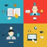 Iconos planos del diseño de la educación, en línea del aprendizaje y de la investigación Imagen de archivo libre de regalías