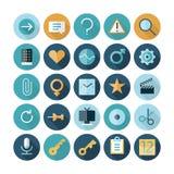 Iconos planos del diseño para la interfaz de usuario Fotos de archivo