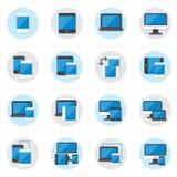 Iconos planos del dispositivo de los iconos y ejemplo responsivo del vector de los iconos del diseño web Fotos de archivo libres de regalías