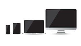Iconos planos del dispositivo realista: smartphone, tableta, ordenador portátil y equipo de escritorio stock de ilustración