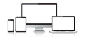 Iconos planos del dispositivo realista: smartphone, tableta, ordenador portátil y escritorio stock de ilustración
