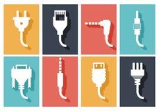 Iconos planos del enchufe eléctrico stock de ilustración