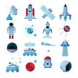 Iconos planos del equipo de los instrumentos de las naves espaciales fijados Foto de archivo libre de regalías