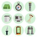 Iconos planos del equipo de supervivencia fijados Foto de archivo libre de regalías