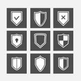 Iconos planos del escudo fijados Foto de archivo libre de regalías
