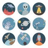 Iconos planos del espacio Imágenes de archivo libres de regalías