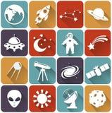 Iconos planos del espacio y de la astronomía. Sistema del vector. Imagen de archivo