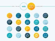 Iconos planos del estilo del esquema del web fijados Foto de archivo libre de regalías