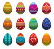 Iconos planos del estilo del vector de los huevos de Pascua encendido Imagen de archivo