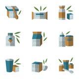 Iconos planos del estilo para los alimentos para niños Foto de archivo libre de regalías