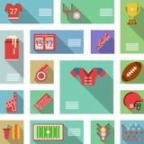 Iconos planos del fútbol americano Foto de archivo libre de regalías