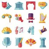 Iconos planos del funcionamiento temporario del teatro fijados libre illustration