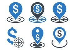 Iconos planos del Glyph de la meta de negocio Imagenes de archivo