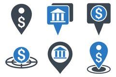 Iconos planos del Glyph de la ubicación del banco Imágenes de archivo libres de regalías