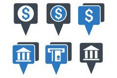 Iconos planos del Glyph de los indicadores del mapa del banco Imagenes de archivo
