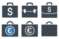 Iconos planos del Glyph del caso del negocio Fotos de archivo libres de regalías