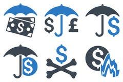 Iconos planos del Glyph del paraguas financiero Fotos de archivo libres de regalías