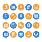 Iconos planos del glyph del vector de la ingeniería de la encuesta geodésica Equipo de la geodesia, tacheometer, teodolito Invest libre illustration
