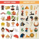 Iconos planos del gran color de las civilizaciones de China y de Egipto fijados stock de ilustración