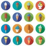Iconos planos del helado Imagenes de archivo