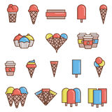 Iconos planos del helado libre illustration