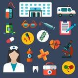 Iconos planos del hospital y de la medicina Imagen de archivo