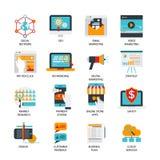 Iconos planos del márketing de Digitaces fijados ilustración del vector