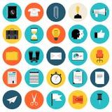 Iconos planos del márketing y del negocio fijados stock de ilustración