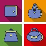 Iconos planos del monedero Fotografía de archivo libre de regalías