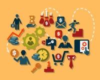 Iconos planos del negocio fijados stock de ilustración