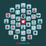 Iconos planos del negocio fijados Ilustración del vector Fotos de archivo libres de regalías