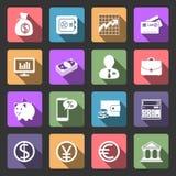 Iconos planos del negocio y de las finanzas fijados Imagen de archivo