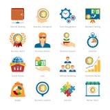 Iconos planos del negocio y de las finanzas fijados Fotografía de archivo libre de regalías