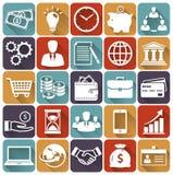 Iconos planos del negocio y de las finanzas Sistema del vector Fotografía de archivo