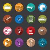 Iconos planos del negocio y de las finanzas, vector Foto de archivo libre de regalías