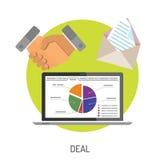 Iconos planos del negocio y del trato Imagenes de archivo