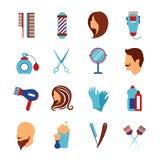 Iconos planos del peluquero de la barbería fijados ilustración del vector