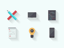 Iconos planos del proceso de la tecnología del web Foto de archivo libre de regalías