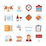 Iconos planos del restaurante del diseño Fotos de archivo